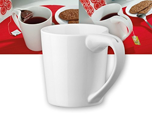geschenkartikel-shopping Teetasse mit Teebeutelhalter Halteschlitz oder Löffelhalter im Griff von noTrash2003