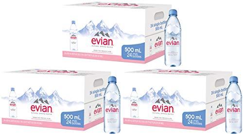 Evian lop Natürliches Frühlingswasser einzeln 500 ml Flaschen, natürlich gefiltertes Frühlingswasser in einzelnen Kunststoffflaschen, 3 Packungen à 24 Stück