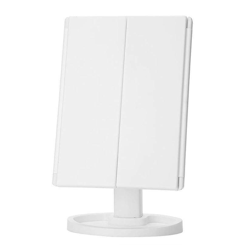 ビル忌避剤空虚化粧鏡 化粧ミラー 両面鏡 卓上 LEDライト付き 10倍拡大 360度回転  高精細 明るさ調節可能 2way充電 折りたたみ 収納可能 小型 超軽便 (白色)