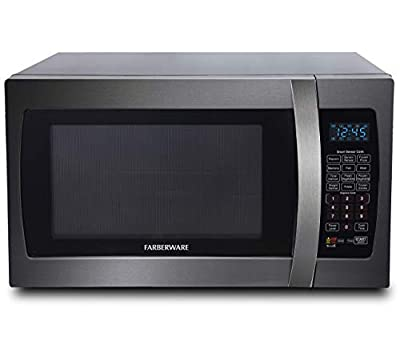 Farberware Black FMO13AHTBSE 1.3 Cu. Ft. 1100-Watt Microwave Oven with Smart Sensor Cooking, ECO Mode and Blue LED Lighting Black Stainless Steel (Renewed)