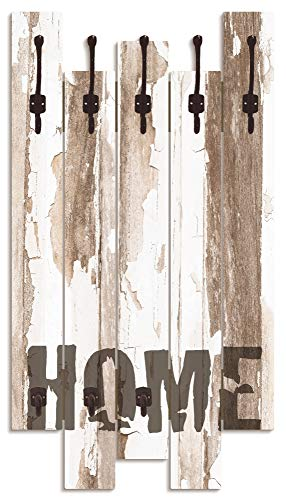 Artland Wandgarderobe Holz Design mit 8 Haken Garderobe Paneel mit Motiv 63x114 cm Shabby Chic Landhaus Schriftzug Used Look Zuhause Home T9ID