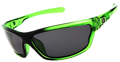 Nitrogen Men's Rectangular Sports Wrap 65mm Green Polarized Sunglasses, Medium