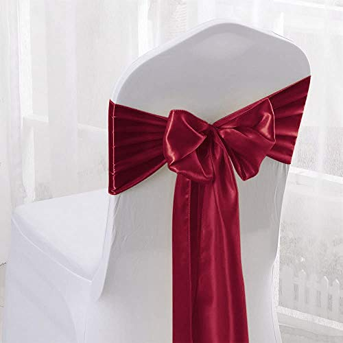 Namvo 25 de satén elástico con lazo, decoración para bodas, fiestas, hogar (rojo vino)