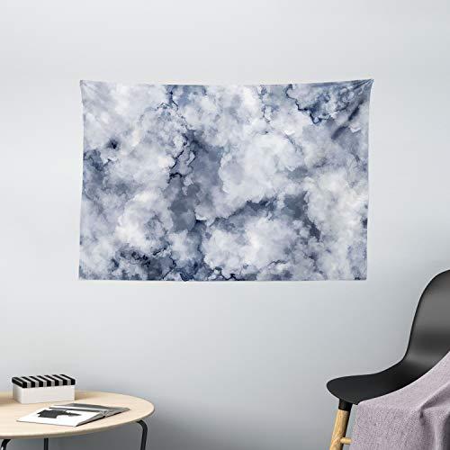 ABAKUHAUS Marmor Wandteppich, Bewölkt, Wohnzimmer Schlafzimmer Wandtuch Seidiges Satin Wandteppich, 150 x 100 cm, Kadett-Blau Staub