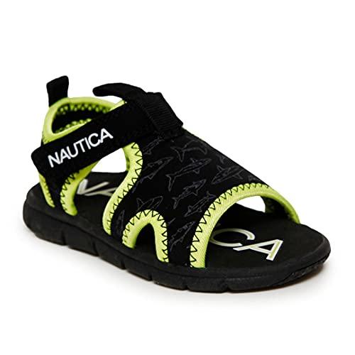 Nautica Kids Sports Sandals - Water Shoes Open Toe Athletic Summer Sandal Boy - Girl -Diera-Black Shark-5