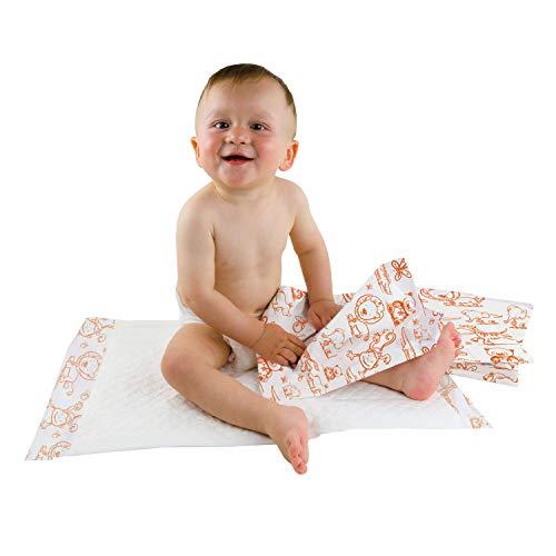 Teqler Baby-Wickelunterlagen: Wickelunterlagen mit verschiedenen Motiven für unterwegs, hygienisch mit Superabsorber 40 x 60 cm (50-er Pack)