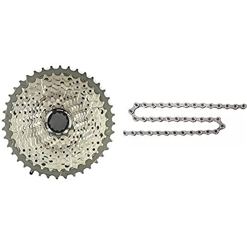 SHIMANO Deore Xt Cs-M8000, Cassetta Pignoni 11 velocità, 11-46 Denti, Argento & Cn-Hg701-11 Catena, Silver, L