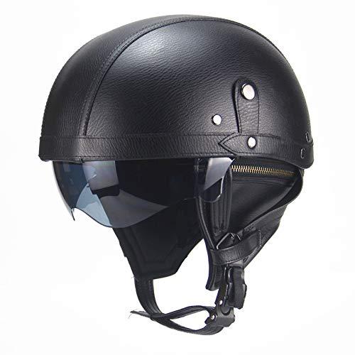 Harley Motorradhelm Offenes Gesicht Leder Schwarz Jungen und Mädchen Neuheit Pilot Erwachsener Helm Cruiser 3/4 DOT Zertifiziert Fahrrad Roller Mütze Halber Helm (One Size 56-61CM)