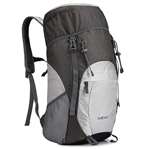 G4Free Lightweight Packable Hiking Backpack 40L Travel Camping Daypack Foldable(Grey/Silver)