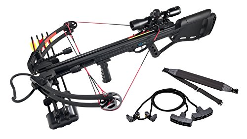 Leader Accessories Crossbow Package 150lbs 325fps Archery Equipment Hunting Bow with Quiver and 4pcs of Aluminum Arrow, Black