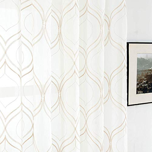 VISIONTEX 2 Pieces Moroccan Trellis Embroiderd White Sheer Curtains , Euro Style Faux Linen Rod Pocket, Voile Tulle Semi Window Treatment Drapes for Window Door and Bathroom, 54' x 72', Beige