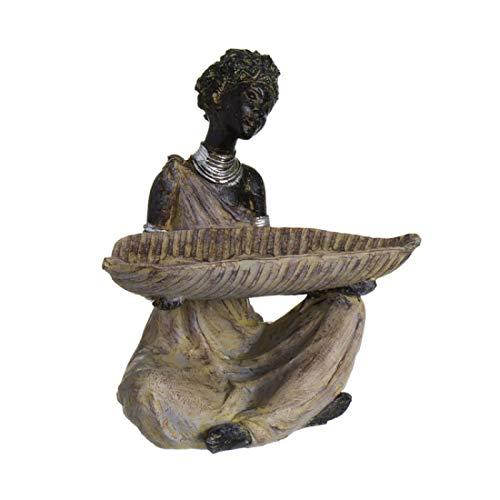 Home Gadgets Figura Decorativa Mujer Africana Portavela 20 cm