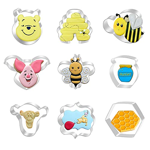 Aoerfes Bear the Pooh Cookie Cutters 9 Pieces Set, Bee Bear the Face Tiger Piglet Beehive and Honeycomb Hexagon Honey Jar Cookie Shapes Stainless Steel Cutters Mold for Cakes Biscuits