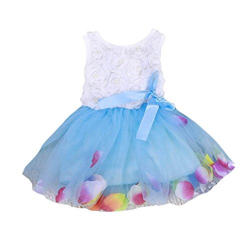 BOBORA Bébés Filles Princesse Robe sans Manches Robe avec Bow 0-4Ans (2-3Ans, Bleu)