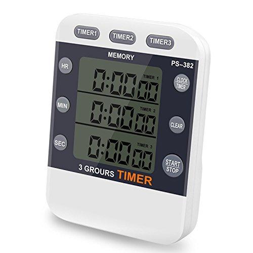 SZSMD Digitaler Küchentimer Kurzzeitmesser, 3-Kanal Elektronischer küche Timer, Magnetisch Timer mit LCD Display Count up/Down Stoppuhr