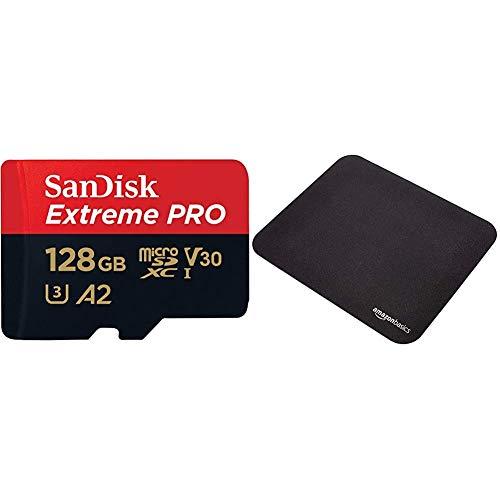 SanDisk Extreme Pro Scheda di Memoria microSDXC da 128 GB e Adattatore SD con App Performance & Amazon Basics Tappetino per mouse da gioco