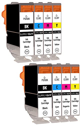 SupplyGuy 8 Cartuchos Compatible con Canon PGI-5 CLI-8 Multipack para IP3300 IP3500 IP4200 IP4200 Series IP4200x IP4300 IP4500 IP4500 Series IP4500x IP5200