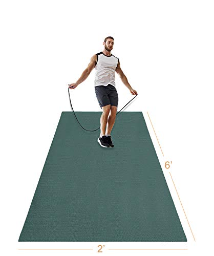 LERYG Yoga Mat Large Fitness Exercise Mat Durable, Non-Slip, Workout Mats for Home Gym Flooring Plyo, Jump, Cardio, MMA Mats Use with or Without Shoes(Green)