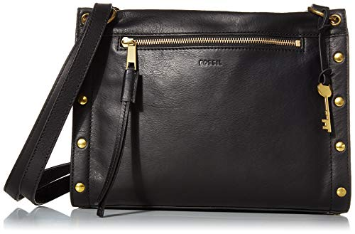Fossil Women's Allie Leather Satchel Handbag, Black