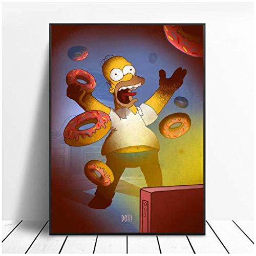 NRRTBWDHL Homer Leinwand Malerei Kunstdruck Poster Bild Wand Wand Minimalistisches Schlafzimmer Wohnzimmer Dekoration-20X28 Zoll ohne Rahmen