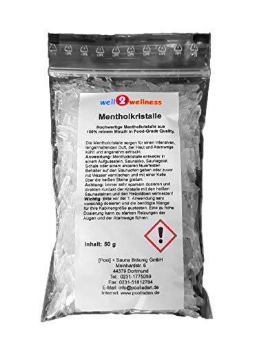 well2wellness® Mentholkristalle intensiv im 50g Beutel - aus 100% reinem Minzöl