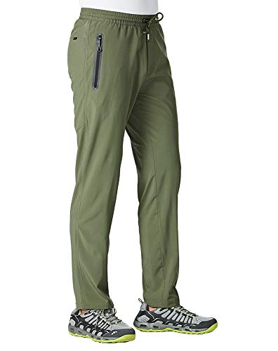 YSENTO Men's Outdoor Sports Quick Dry Running Pants Stretch Athletic Pants Zipper Pockets(Army Green,US M)