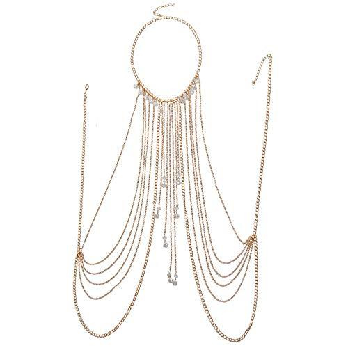 ChengBeautiful Körperkette Sommer-Körper-Ketten-justierbares Geschirr mit feinem Kettenmultirow Halsketten-Quasten-Halsketten-Körper für Frauen Und Mädchen (Color : Gold, Size : Free Size)