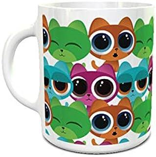 IMPRESS White Ceramic Coffee Mug with Cartoon Cats Design