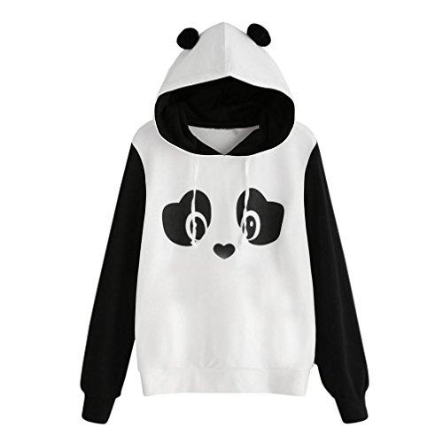 TWIFER Damen Panda Hoodie Kapuzenpulli Mode Sweatshirt mit Kapuze Pullover Jumper Bluse (S, Weiß)