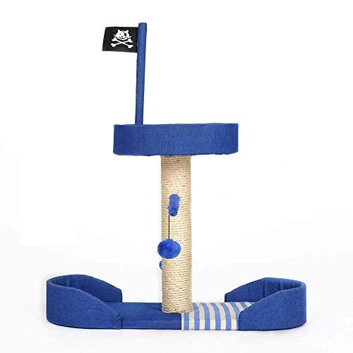 Lindou Katzenspielzeug, Piratenschiff-Flagge, Kletterrahmen, Kratzbaum für Katzen, Kletterturm, interaktives Spielzeug für Katzen, Schwarz
