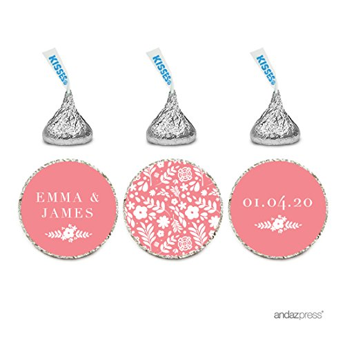Andaz Press Personalized Wedding Chocolate Drop Label Stickers, Floral Flowers, Coral, 216-Pack, For Engagement Bridal Shower Hershey's Kisses Party Favors