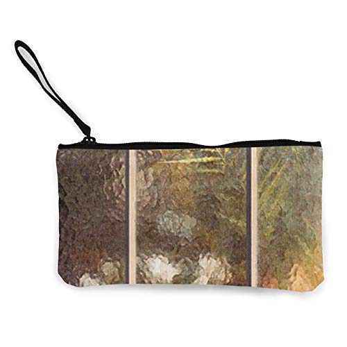 XCNGG Monederos Bolsa de Almacenamiento Shell Garden Scenery Canvas Coin Purse with Zipper Coin Wallet Multi-Function Small Purse Cosmetic Bags For Women Men