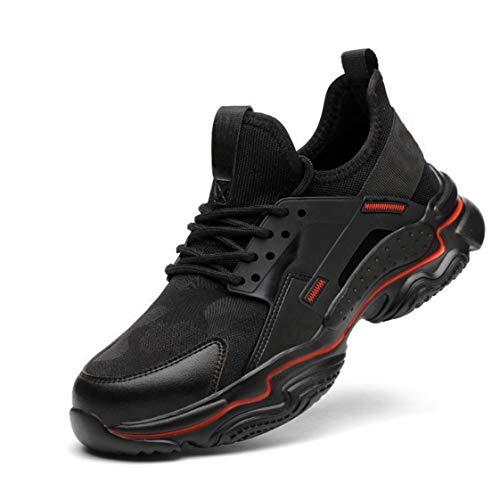 HMAKGG Zapatillas de Seguridad Gimnasio para Fitness Deportes Zapatillas de Running para Hombre Zapatos de Trabajo,Negro,47 EU
