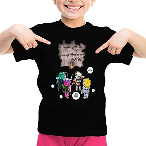 Okiwoki T-Shirt Enfant Fille Noir Saint Seiya parodique Seiya, Shiryu, Hyoga et Shun dans la Maison d'Aioros : 4 touristes Japonais perdus en Grèce. (Parodie Saint Seiya)