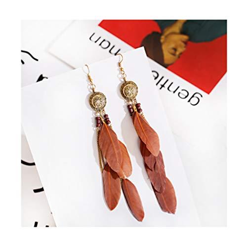 Pendientes de plumas para mujer, bohemios con flecos y borla de largo, para mujeres, niñas, seis colores, se pueden seleccionar pendientes de moda (color marrón oscuro)