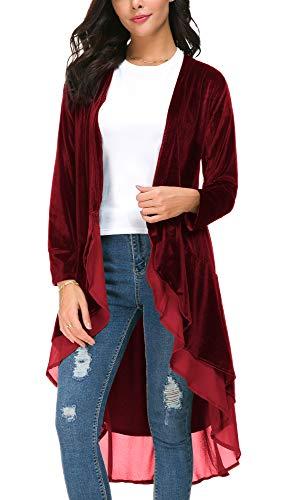 EXCHIC Cárdigan Larga de Terciopelo con Frente Abierta para Mujer con Dobladillo de Gasa Asimétrico (L, Vino Rojo)