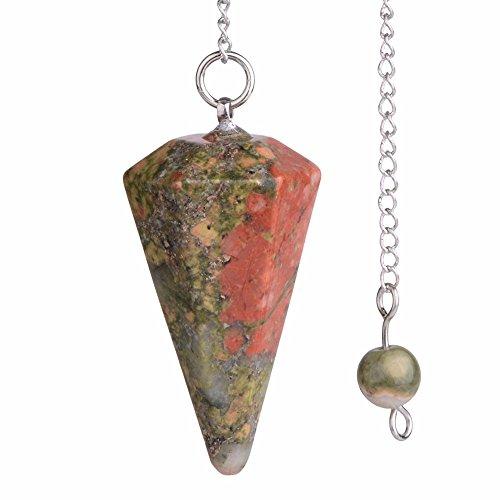 Pendule en pierre précieuse naturelle d'unakite et cristal de roche hexagonal pointu Reiki Chakra