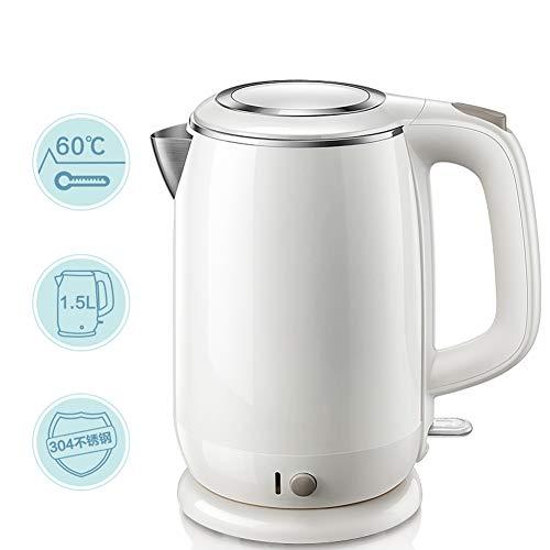 KPPLA elektrische waterkoker, draadloos, roestvrij staal, 1,5 l, waterkoker, 1800 W, snel koken van water met automatische uitschakeling Tech voor koffie