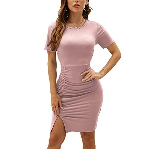 Primavera Ed Estate Moda Casual da Donna Girocollo Tinta Unita Slim-Fit Pieghe Split Manica Corta Manica Corta Abito Corto Donna