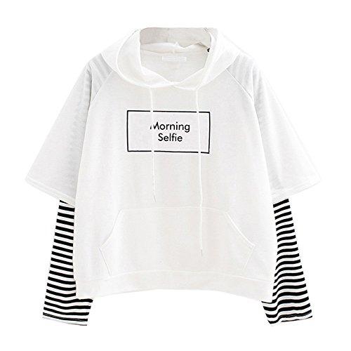 OIKAY Damen Hoodie Frauen Brief Gedruckt Sweatshirt Langarm Nähen Bluse Tops mäntel Damen Herbst