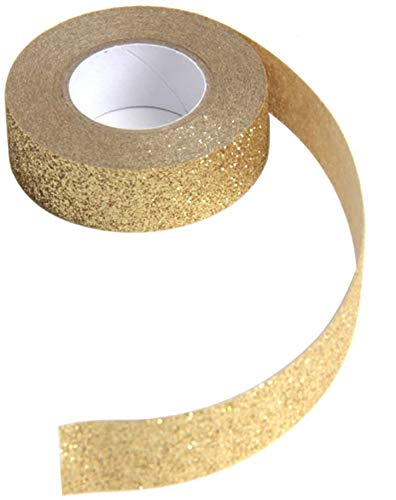 Hapy Shop 3 Rolls Gold Glitter Tape,15mm by 5m,Total 15m/17.5 Yards,Gold,for Scrapbook,Crafting