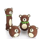 Chiwava 4 juguetes para perros de látex con sonido divertido oso marrón que proporciona a las mascotas un juego interactivo para perros pequeños y medianos.