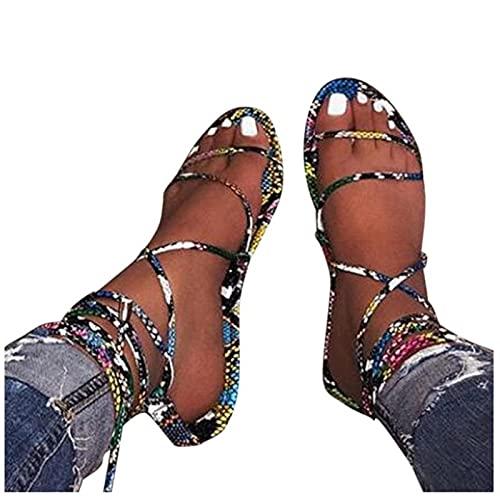 KovBexJa 2021Sandalias Moda con Correa En El Tobillo Sandalias De Mujer Zapatos De PVC Sandalias De Mujer De Fondo Plano Zapatos De Mujer Azul