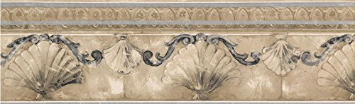 Norwall KS74372 Sea Shell Molding Wallpaper Border, Silver, Gold, Stone
