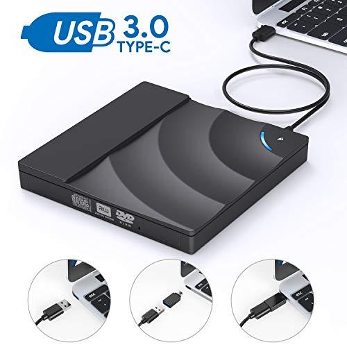 Grabadora CD DVD Externa, AUCEE USB 3.0 Tipo-C Puerto Dual Control tactil Unidad CD/DVD Externa Portátil Escritor Quemador reescritura Compatible Laptop/Macbook/Desktop /Win10/7/8/XP/Mac OS