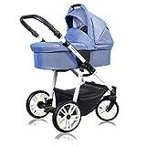 Poussette 3 en 1 ensemble complet avec siège d?auto Isofix bébé bébé porte-bébé Buggy Smart-Plus White par ChillyKids Blueberry Shine 106 2en1 sans siège bébé