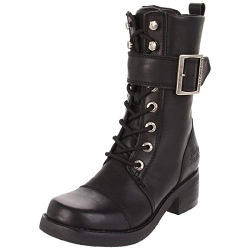 """Harley-Davidson Women's Jammie Strap And Buckle 10"""" Black Mid Cut Boot, Black, 8 B(M) US"""