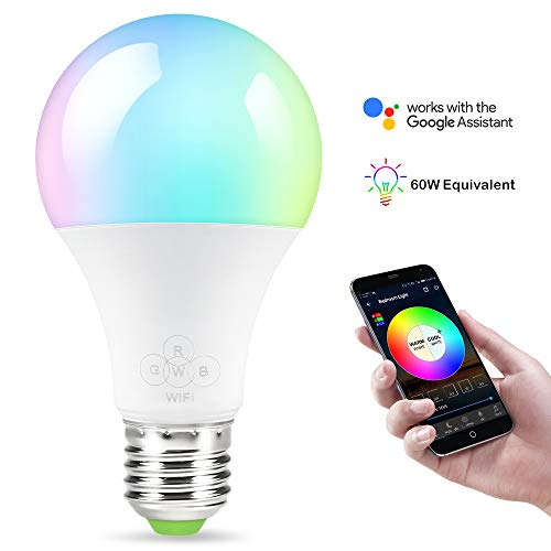 Smart Bulb,Nexlux Sunrise Wake-Up WiFi Lights,Cellphone Control Color Tunable Soft,Cool White,RGB Led Light Bulb 6.5W(60W Equivalent),Compatible with Alexa and Google Assistant