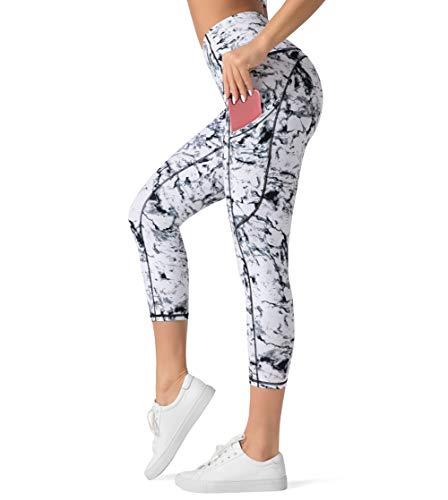 Dragon Fit High Waist Yoga Capri Leggings with 3 Pockets,Tummy Control Workout Running 4 Way Stretch Yoga Pants (Small, Capri29-Marble)
