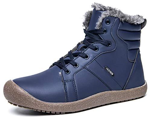 Eagsouni Winterstiefel Winterschuhe Schneestiefel Herren Damen Warm Gefüttert Wasserdicht Stiefelette Leder Winter Kurz Stiefel rutschfest Outdoor Boots